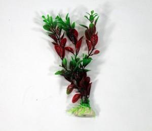 Artificial plant 15 cm aquarium decoration green + red
