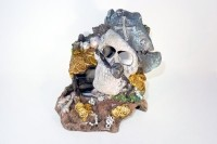 Pirate head on island with treasure chest