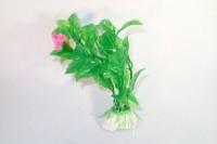Plante artificielle verte avec fleur rose 10 cm décoration aquarium